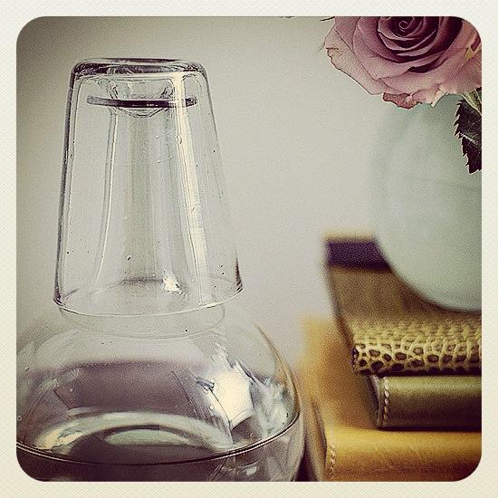 Stillben: Mintgrønn vase med teroser