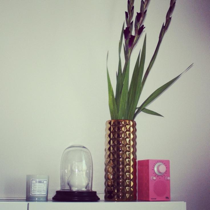 gullvase med gladioler
